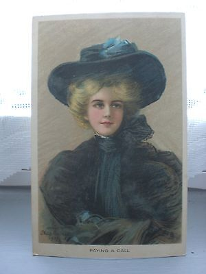 Raphael Tuck & Sons  Connoisseur Series 2819  Postcard Paying A Call  Lady 1907