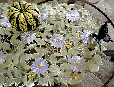 "Field of Daisies Lace 34"" Table Runner Dresser Scarf  Doily Daisy Green  Flower"