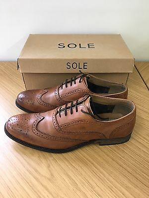 Mens SOLETRADER Tan Brogue Leather Shoes Lace Up Size 10