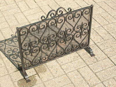 A Large Wrought Iron Blacksmith-Made Fire Screen / Spark Guard