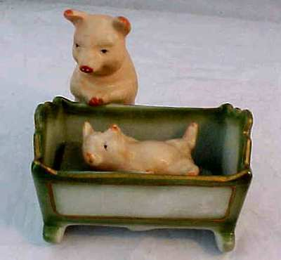 Antique Fairing Mother Pig With Baby In Cradle