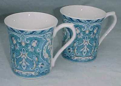 Two Queen's Bone China Blue Damask Coffee Mugs
