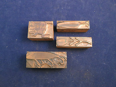 Vintage Lot of Four Copper Printers Blocks - Fishing Lures & Reel - Lot 4