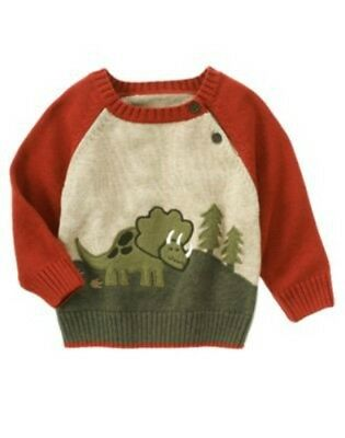 Gymboree Dinosaur Tracker NWT 5T Pullover Applique Sweater NG1