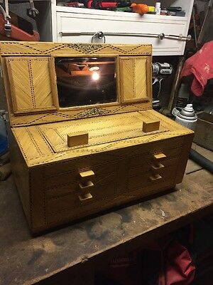 Vintage Tramp Art Dresser Box With Mirror And Picture Holders