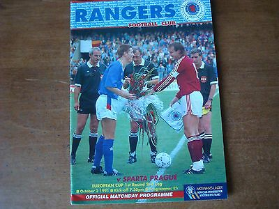 Rangers V Sparta Prague Oct 1991