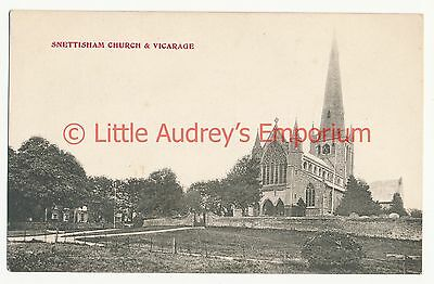 Old Postcard Snettisham Church & Vicarage c1920 Unused VGC AL119