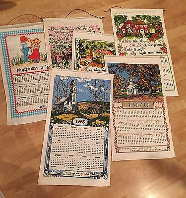 Vintage 1960's 1970's  Linen Dish Towel Calendar Wall Hanging Church Red barn