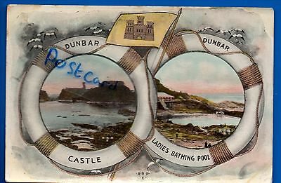 Old Multiview Postcard Dunbar East Lothian - Lifebuoy Rings Castle Bathing Pool