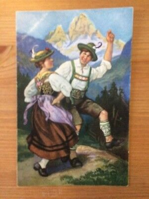 Bavarian Costume / German Postcard
