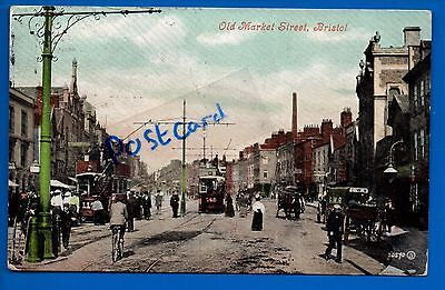 1906 Postcard Old Market Street Bristol Avon Street Scene Trams People Gwr Cart