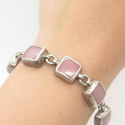Vtg Mexico 925 Sterling Silver Real Pink Quartz Gemstone Link Bracelet 7 1/4""