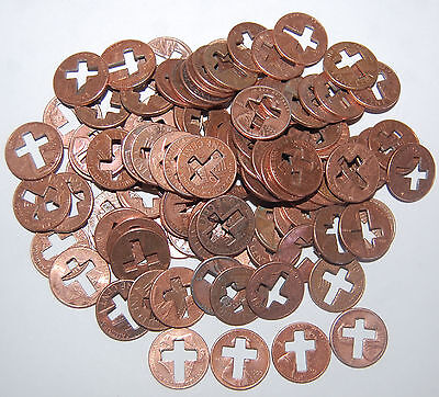 12. A Lot Of 100 Lincoln Cents With Cut-Out Crosses - Relgious - Most Popular