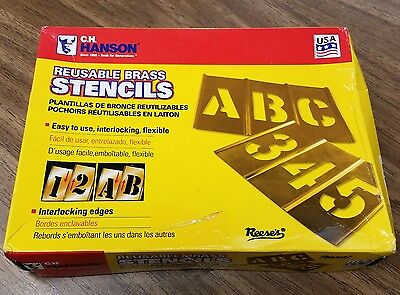 """NIB CH HANSON Stencil, Letters and Numbers, 6"""", Brass - MSRP $248"""