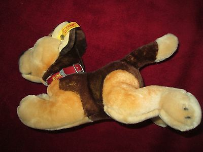 "Steiff Alsation Lying Down Soft Toy Dog 11"" Long, Unused, No Paper Tag Or Box"