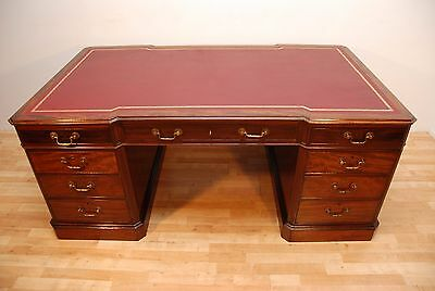 Antique Style Flame Mahogany Breakfront Large Partners Writing Pedestal Desk