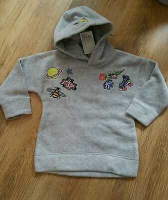 NEW Baby Girls grey fleece hooded sweater jumper top from Next size 2-3 yrs