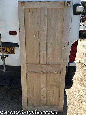 "28 3/4""x70"" Short Reclaimed Victorian Stripped Pine 4 Panel 2over2 Internal Door"