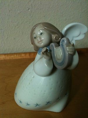 "Lladro Little Angel with Lyre Harp 5"" Excellent Made in Spain 3"