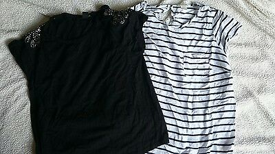 2 x maternity tops stripe and black maternity top size 14 and Large