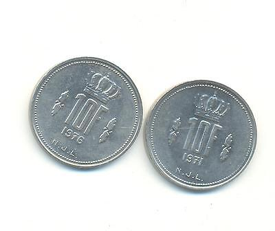 Very Nice Rare.luxembourg.2X1.francs.1971.1976.unc..very Collectable.c.112