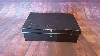 Vintage Metal Deed Document Box Storage Display Money Box Handles