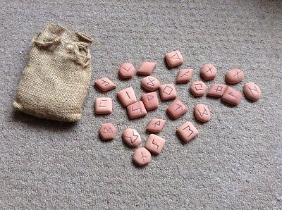 Rune Stones Red Clay Tiles In Hessian Bag Fortune Telling Prophecy Cast Runes