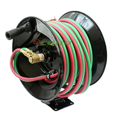 Manual 50ft Twin Oxy Acetylene Welding Hose Reel  300psi 50' Twin Welding Hoses