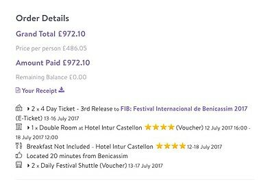 Benicassim Ticket, Shutle Bus & Hotel Package 2017 For 2 Guests