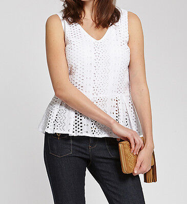 Morgan Top T42 Broderie Anglaise Blanc Neuf Haut Femme
