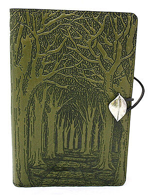 AVENUE OF TREES Oberon Design Leather Journal 6 x 9 Inch Large Fern Green