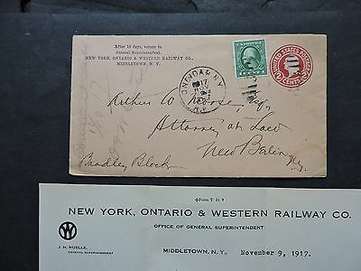 1917 Middletown New York Ontario Western Railway Ad +Railroad Letter -New Berlin