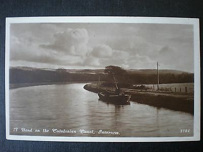 Caledonian Canal barge Inverness Scotland RP postcard