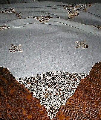 Vintage Hand Cross Stitched Tablecloth With Crocheted Edges, Gorgeous!