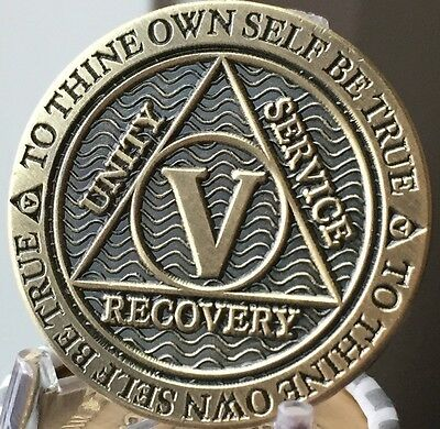 5 Year AA Medallion Reflex Antique Chocolate Bronze Sobriety Chip Coin