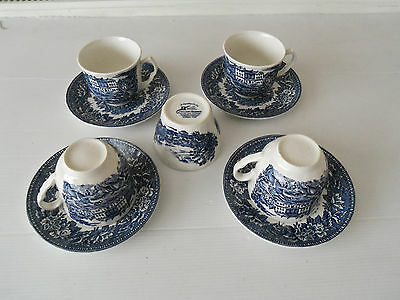 "VINTAGE SET AYNSLEY 4 CUPS/SAUCERS BLUE & WHITE ""ENGLISH HERITAGE"" + sugar bowl"