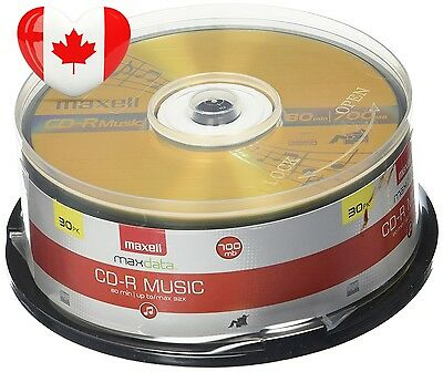 Maxell 30 Pack Music 80x 700MB CDR Media For Audio 625335