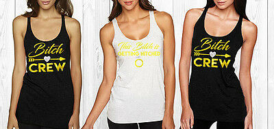Bitch crew rhinestone tank top ,Engagement crystal ,Tank Top,I'm Getting hitched