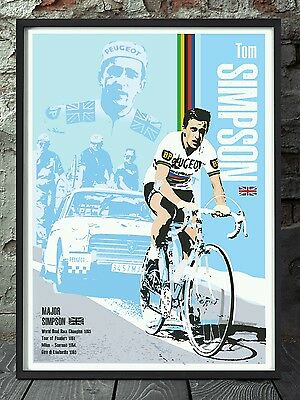 Tom Simpson cycling legend vintage poster. Tour de france specially created
