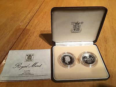 1989 Silver Proof Piedfort £2 Two Coin Set Boxed With Cert