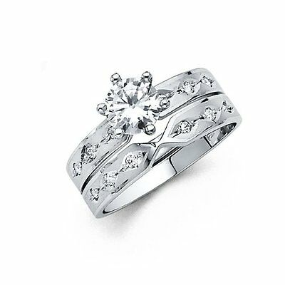 14k Solid White Gold Engagement Ring and Wedding Band 2 Piece Set