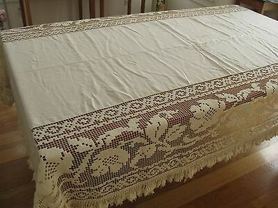 """Antique Linen & Filet Lace Fringed Tablecloth 108"""" Hand Made Tablecloth/spread!"""