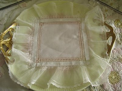 Antique Lace & Linen Wedding Handkerchief, Hand Made, Lovely Memento, Exlnt!