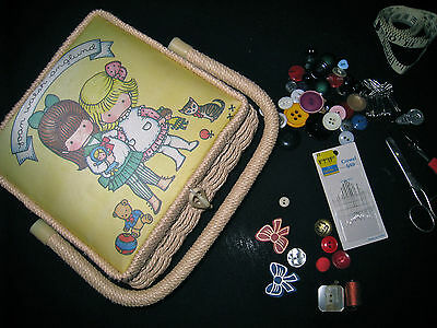 Joan Walsh Anglund SEWING box 1970s woven Sewing BOx cottons VINTAGE buttons
