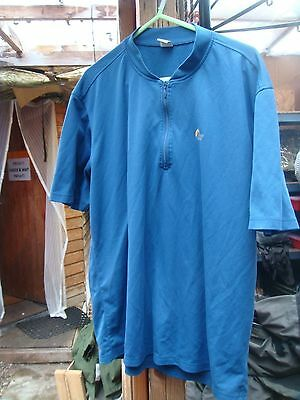 lowe alpine medium dryflo shirt blue zip neck short sleeve