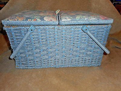 Large Vintage Blue Sewing Basket with Notions  lots of Buttons!!  estate 1