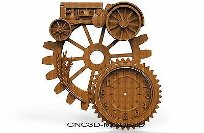 3D MODEL STL for CNC Router Engraver Carving Artcam Aspire Clock Tractor 8244