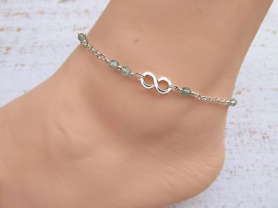 Sterling Silver Infinity Link Anklet with Apatite Gemstone beads