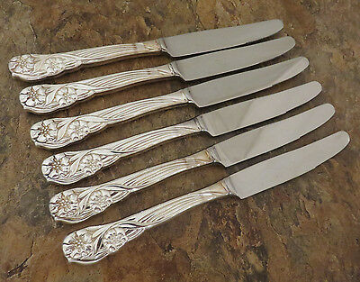Oneida Trillia Set of 6 Dinner Knives Silverplate Flatware Silverware Lot A