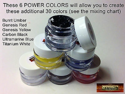 M00125a MOREZMORE Genesis Heat-Set Paints 6 Power Colors Set Survival Kit T20